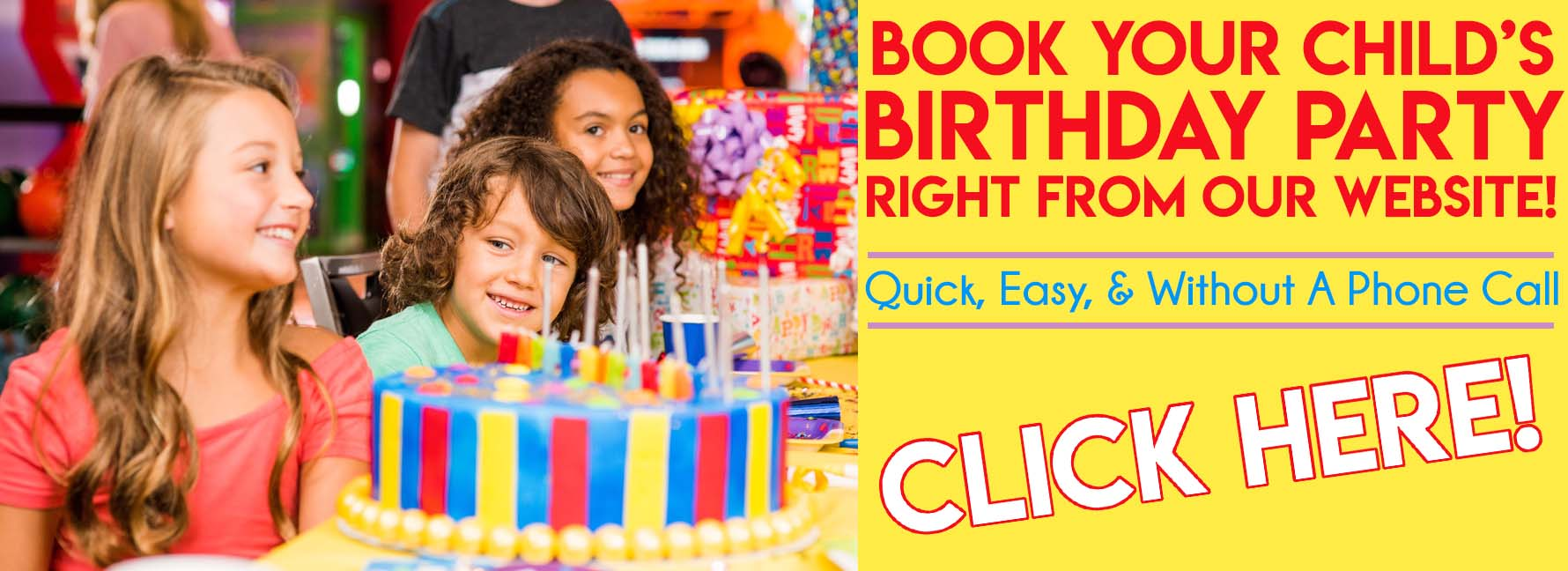 Birthday Parties Online Reservations Banner